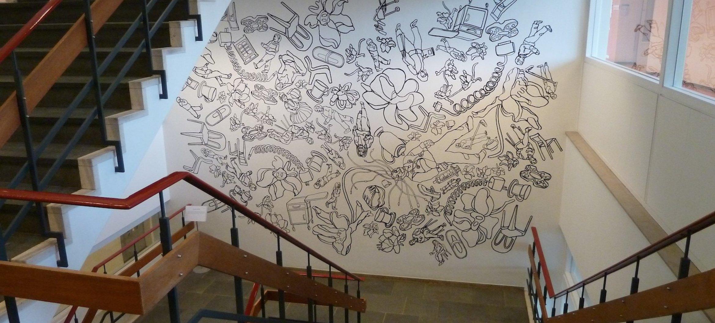 Keep Moving' ! (downstairs)  Muurschildering door Silvia Russel, St Anna Ziekenhuis Geldrop