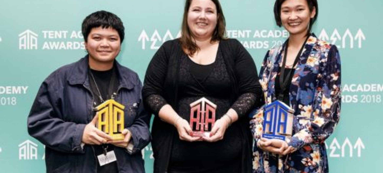 De winners of TENT Academy Awards 2018 (left to right  Praewe, Michelle en Natalia)