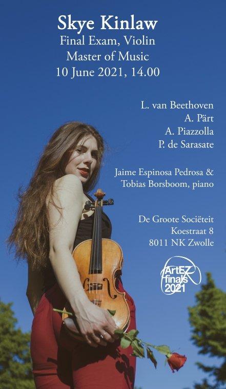 Skye Kinlaw, viool Klassieke Muziek (Master)